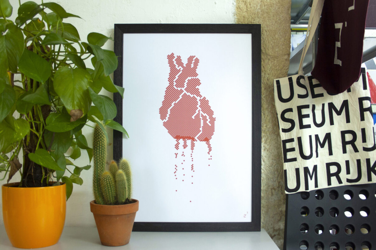 2point3 shop print dripping heart poster
